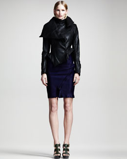 Ann Demeulemeester Asymmetric Leather Peplum Jacket, Sheer Draped Georgette Degrade Top & Asymmetric High-Waist Skirt