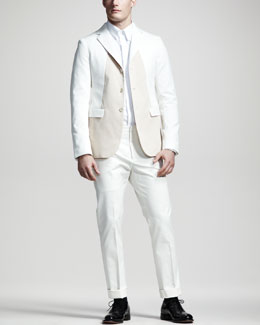 Jil Sander Colorblock Cotton Blazer, Covered-Placket Shirt & Slim Cotton Pants