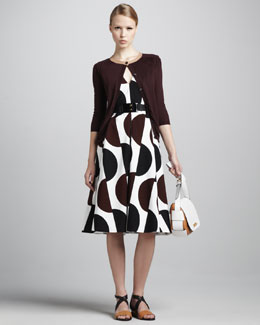 Marni Three-Quarter-Sleeve Cardigan, Dot-Print Tea-Length Dress & Elastic Horn Belt