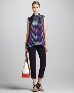Marni Sleeveless Grid-Print Blouse & Cropped Pants