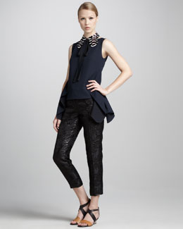 Marni Back-Peplum Sleeveless Top, Sequined Collar & Cropped Shimmer Jacquard Pants