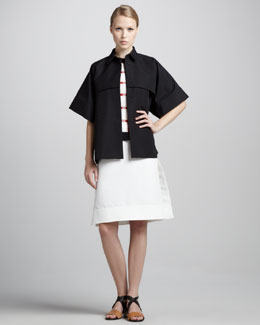 Marni Short-Sleeve Short Trench Jacket, Crewneck Grid-Print Sweater & A-Line Cotton Cady Dress