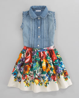 Dolce & Gabbana Denim Sleeveless Blouse & Fiori Colonna Floral Poplin Skirt