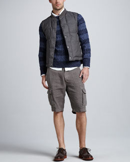 Brunello Cucinelli Reversible Snap-Front Vest & Rugby-Stripe Cable Sweater
