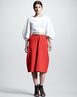 Jil Sander Back-Zip Pique Blouse, Leather Band Belt & Four-Panel Pique Dress