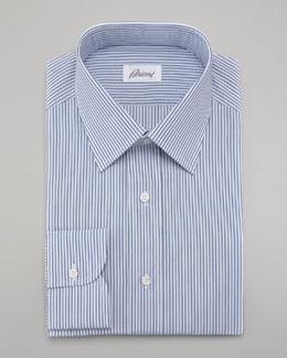 Brioni Multi-Stripe Dress Shirt & Striped Silk Tie