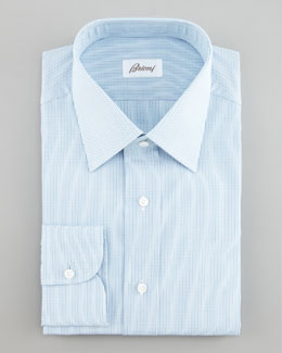 Brioni Dolly Microcheck Dress Shirt & Striped Tie