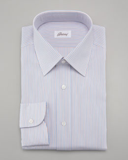 Brioni Striped Dress Shirt & Striped Silk Tie