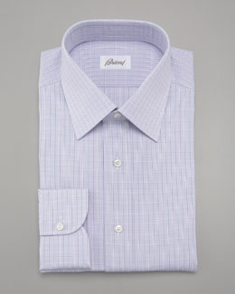 Brioni Check Dress Shirt & Paisley-Print Silk Tie, Lavender