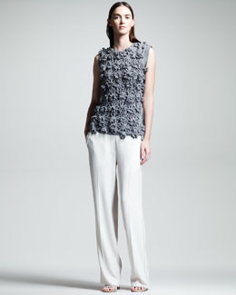 Brunello Cucinelli Knit Flower Pullover & Crepe Wide-Leg Tuxedo Pants