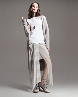 Brunello Cucinelli Long Paillette Duster, Flutter-Sleeve Tee & Jersey-Waist Striped Skirt