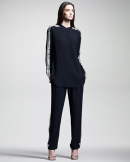 Chloe Embroidered Light Cady Blouse & Pants