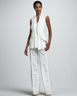 Vera Wang Sleeveless Cutaway Jacket, Scarf-Neck Top & Pajama-Inspired Jacquard Trousers