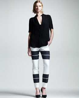 ALC Montgomery Silk Keyhole Top & Sutro Colorblock Pants