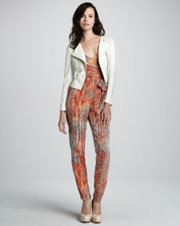 Catherine Malandrino Perforated Leather Jacket and Strapless Charmeuse Jumpsuit