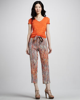 Catherine Malandrino V-Neck Pointelle Top & Belted Print Seersucker Pants