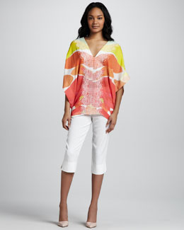 Catherine Malandrino Printed Caftan Blouse and Cropped Side-Slit Pants