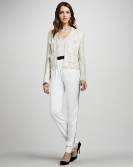 L'Agence Short Frayed Jacket, V-Neck Jersey Tank & Relaxed Tuxedo Pants