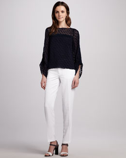 Nanette Lepore Sheer-Dot Top & Straight-Leg Pants
