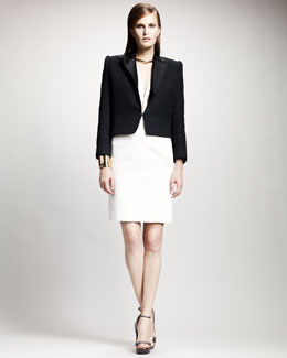 Lanvin Split-Hem Jacket, Deep V-Neck Blouse & Grosgrain-Trim Skirt