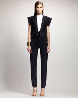 Lanvin Deep V-Neck Kimono Gilet, Trapunto-Stitched Sleeveless Blouse & High-Waist Slim Tuxedo Pants