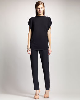 Lanvin Back-Bow Jersey Top & High-Waist Slim Tuxedo Pants