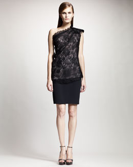 Lanvin Bow-Shoulder Lace Blouse & Tuxedo-Waistband Pencil Skirt