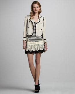 Skaist Taylor Double-Breasted Jacket, Striped Tank & Tiered Skirt