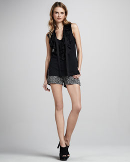 Skaist Taylor Ruffled Top & Boucle Shorts
