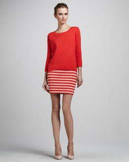 Skaist Taylor Zip-Back Sweater & Striped Pencil Skirt
