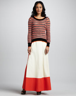 Skaist Taylor Neon-Trimmed Crew Neck Sweater and Colorblock Full Maxi Skirt