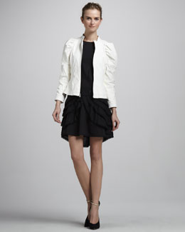 Skaist Taylor Lambskin Moto Jacket & Blossom Dress