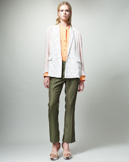 Stella McCartney Dot-Print Jacket, Long-Sleeve Tunic Blouse & Slouchy Ankle Pants