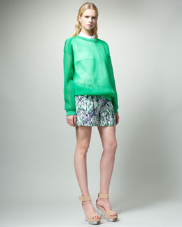 Stella McCartney Sheer Sweatshirt, Two-Pocket Sleeveless Blouse & Printed Shorts