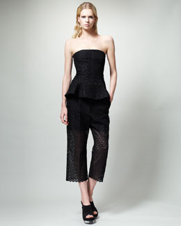 Stella McCartney Bustier Peplum Top & Diamond-Eyelet Slouchy Pants
