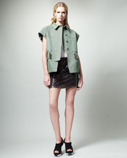 Stella McCartney Belted Cap-Sleeve Jacket, Embroidered Racerback Tank & Diamond-Pattern Miniskirt
