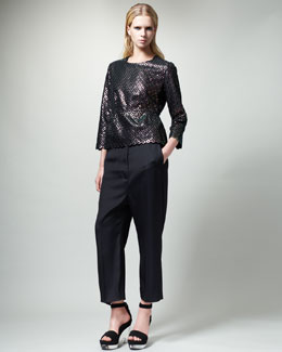 Stella McCartney Diamond-Pattern Peplum Top & Slouchy Ankle Pants