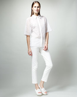 Stella McCartney Diamond-Eyelet Shirt & Skinny White Jeans