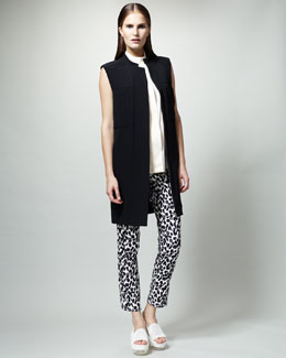 Stella McCartney Gilet Dress, Sleeveless Two-Pocket Blouse & Skinny Animal-Print Jeans