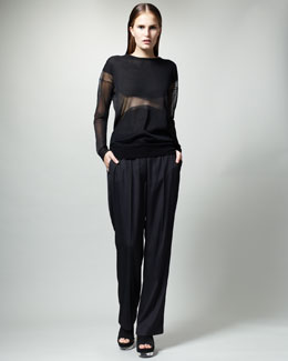 Stella McCartney Sheer Intarsia Top & Slouchy Ankle Pants