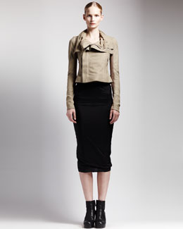 Rick Owens Classic Blistered Leather Jacket & Long Tube Skirt