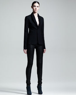 Rick Owens Blistered Tuxedo Blazer & Skinny Leather Leggings