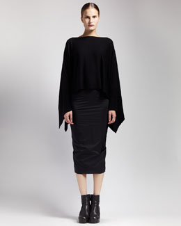 Rick Owens Merino Poncho & Long Tube Skirt