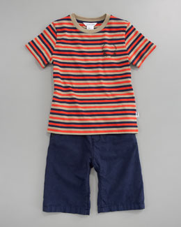 Little Marc Jacobs Striped Short Sleeve Tee & Bermuda Shorts