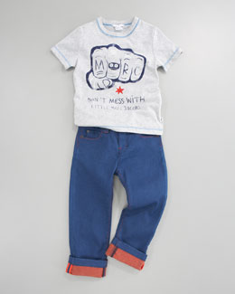 Little Marc Jacobs Don't Mess & Colored Cuffed Denim