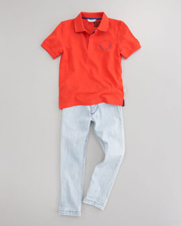 Little Marc Jacobs Pique Short-Sleeve Polo & Slim-Fit Denim Pants