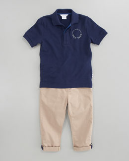 Little Marc Jacobs Pique Short Sleeve Polo & Gabardine Contrast-Trim Pants