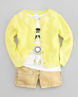 Little Marc Jacobs Sequin-Trimmed Knit Cardigan, Little Daisy Tank, & Metallic Coated Shorts