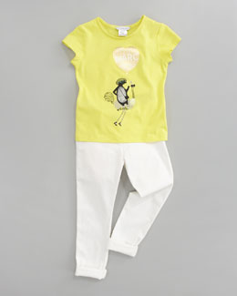 Little Marc Jacobs Little Daisy Printed Tee & Stretch Sateen Slim-Fit Pants, Off White