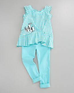 Little Marc Jacobs Check Penguin Tunic & Stretch Sateen Slim-Fit Pants, Teal